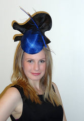 cobalt blue and black upward tear race hat