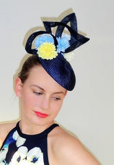navy race hat with floral detail