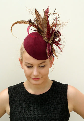 burgundy feathered felt hat for Autumn racing 2016 by sassy millinery