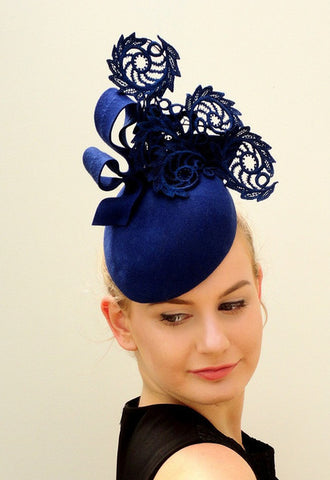 deep blue felt and lace schroll hat for Autumn racing 2016 by Sassy millinery