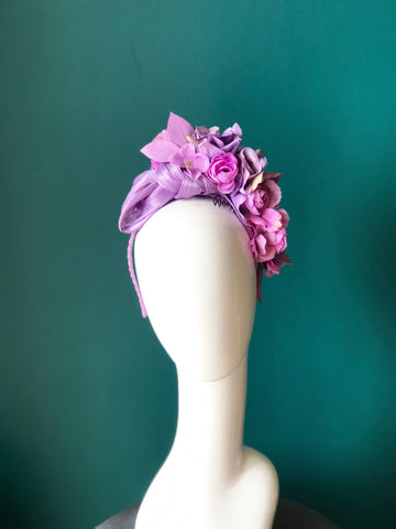 floral band -multi  purple  tones -SOLD