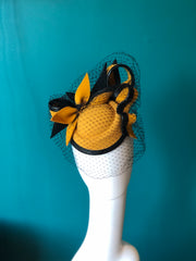 Mustard and black hat