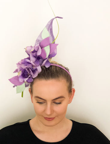 FLORAL RUFFLE HEADPIECE -purples and green