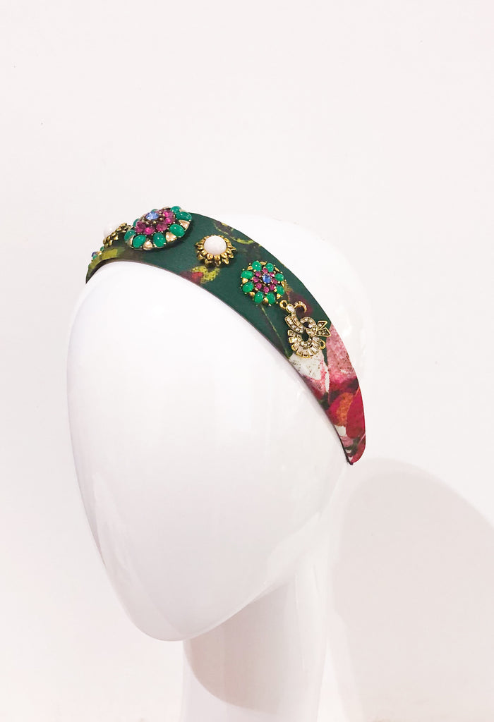 Embellished headband- green
