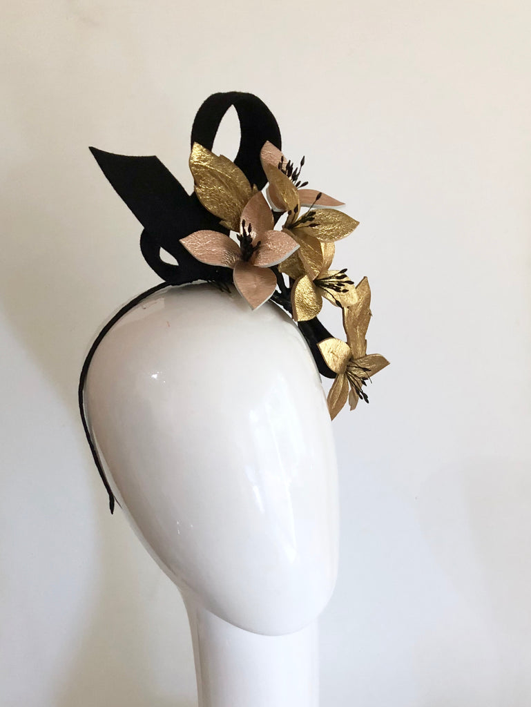 VINE LOVE Leather floral  headpiece -gold rose gold and black