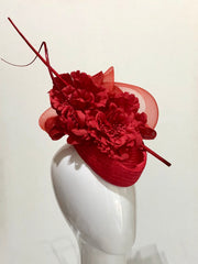 Red floral hat -SOLD