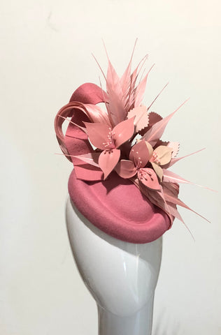 leather floral feature  hat