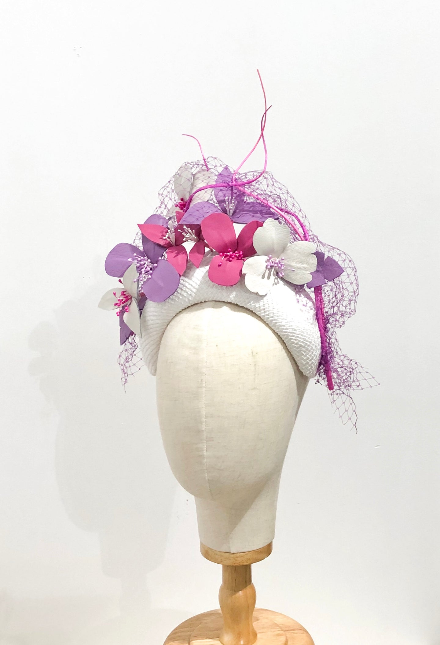 Violet leather floral headpiece