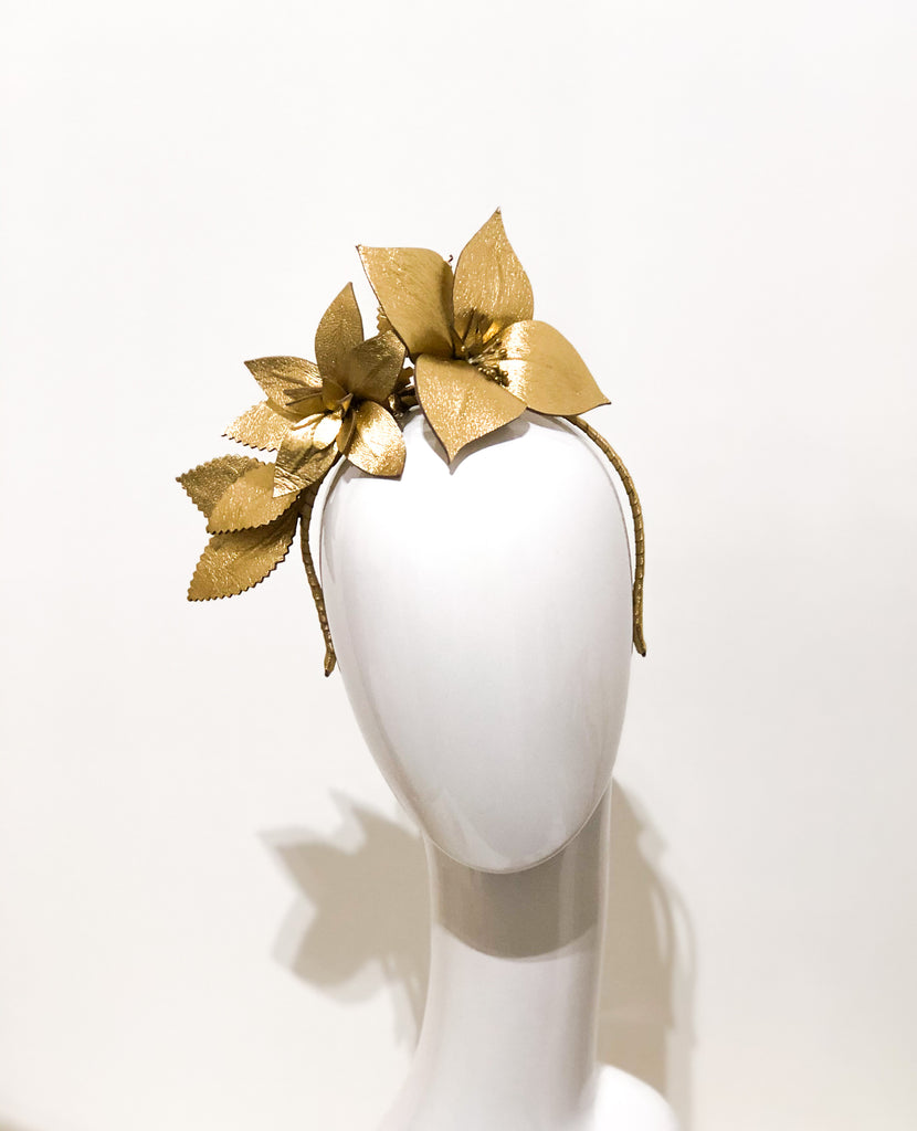 THE MIDAS TOUCH  -gold metallic leather   floral headpiece