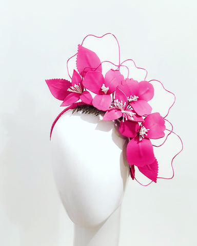 Blooming leather floral headpiece