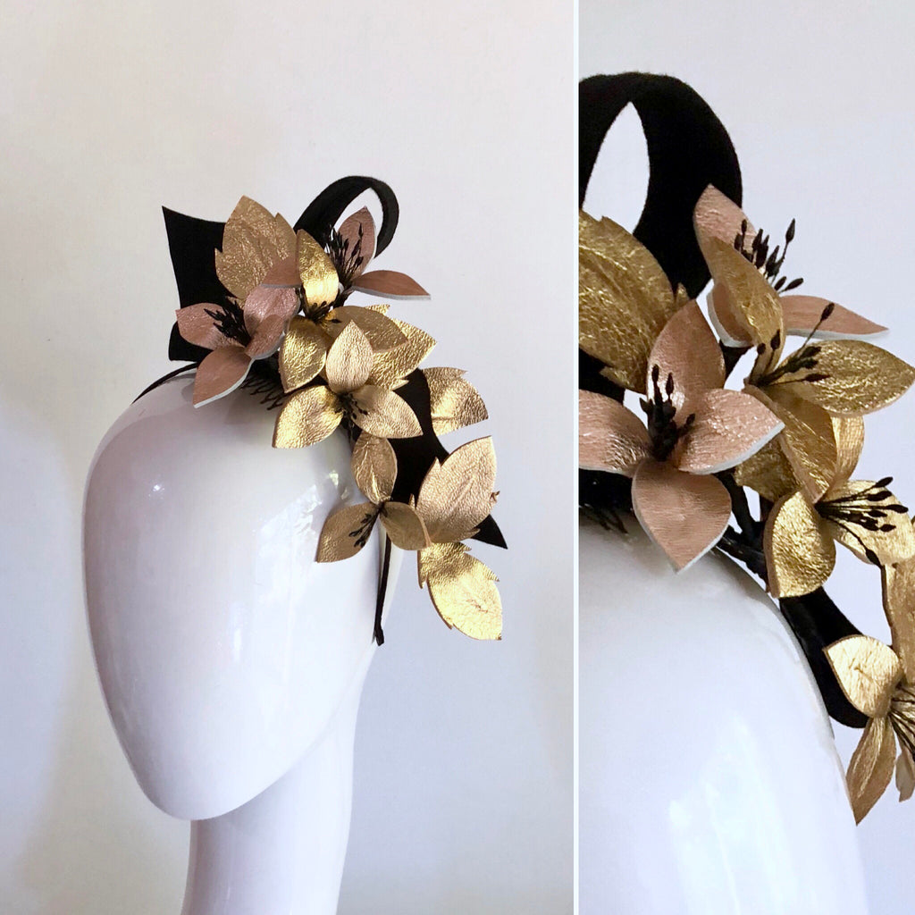 VINE LOVE Leather floral  headpiece -metallics