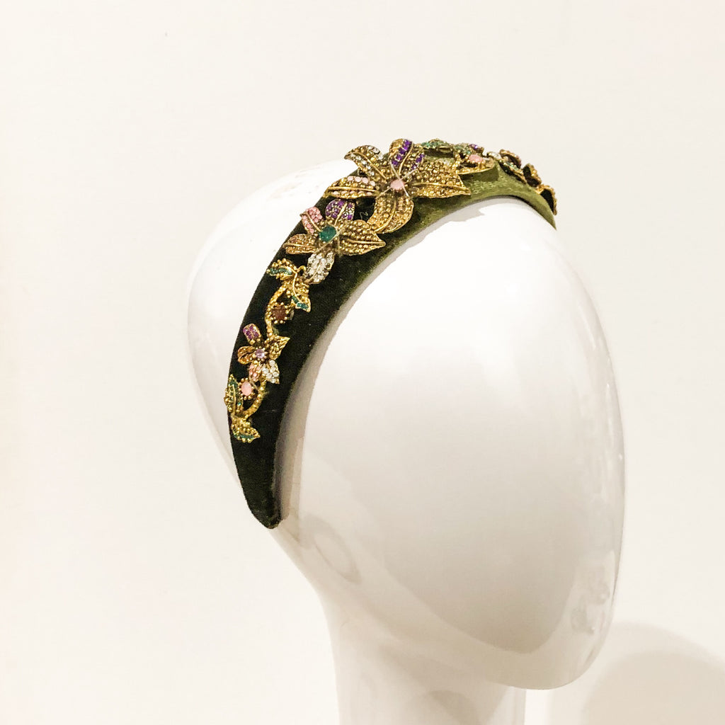 Embellished headband-green