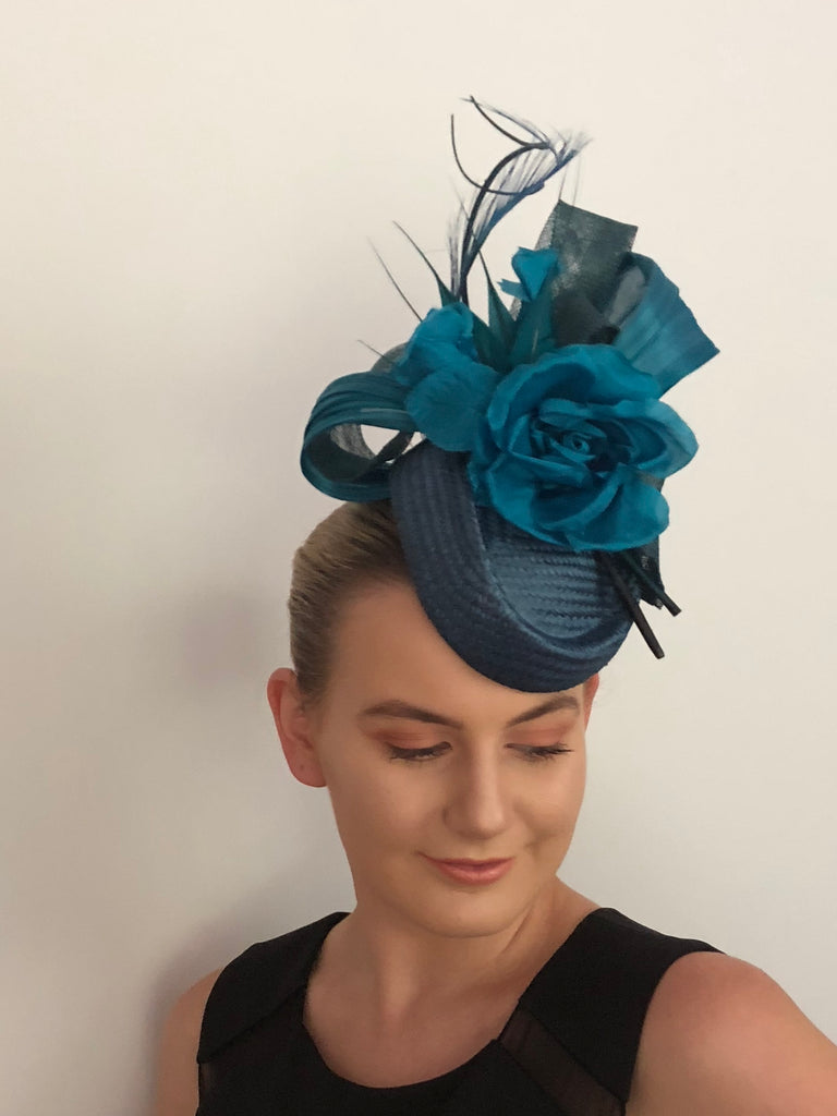 Teal  floral hat -SOLD