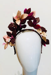leather floral halo