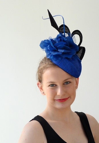 sinamay  hat with ruffle and large flower