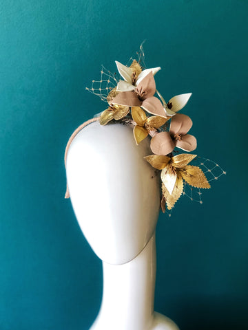 NEW GOLD DREAM - Leather floral  headpiece