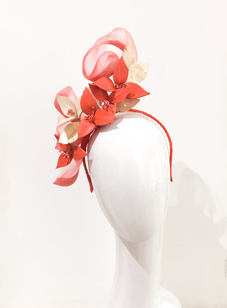 Leather floral   Headpiece -custom for Deb
