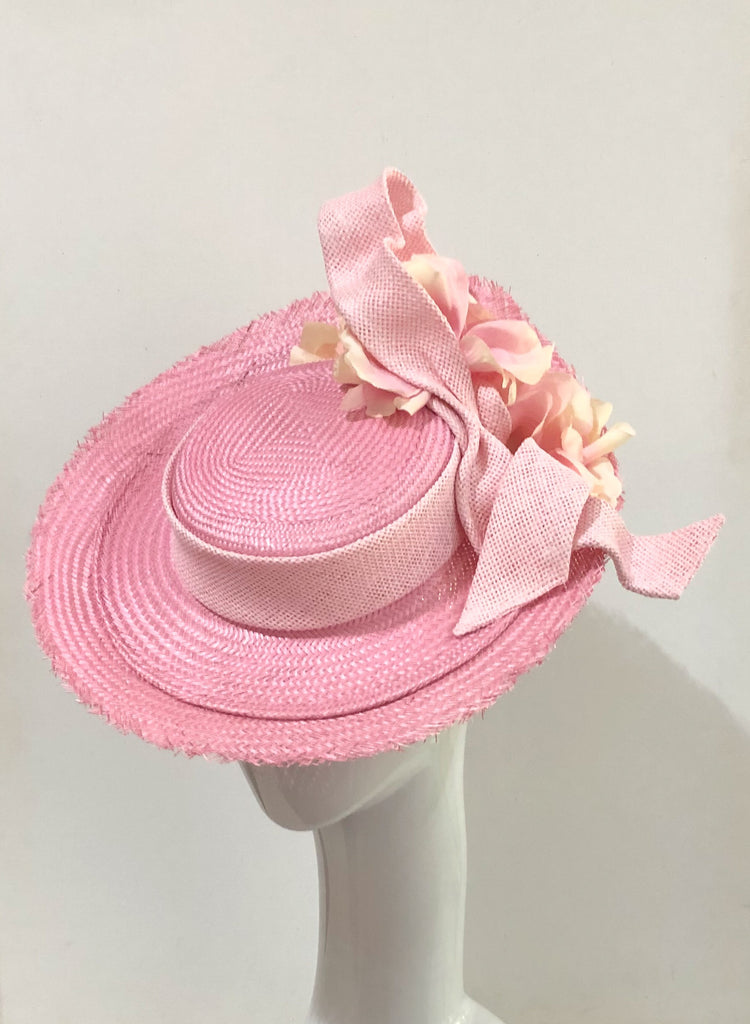 Multi pinks floral Boater hat