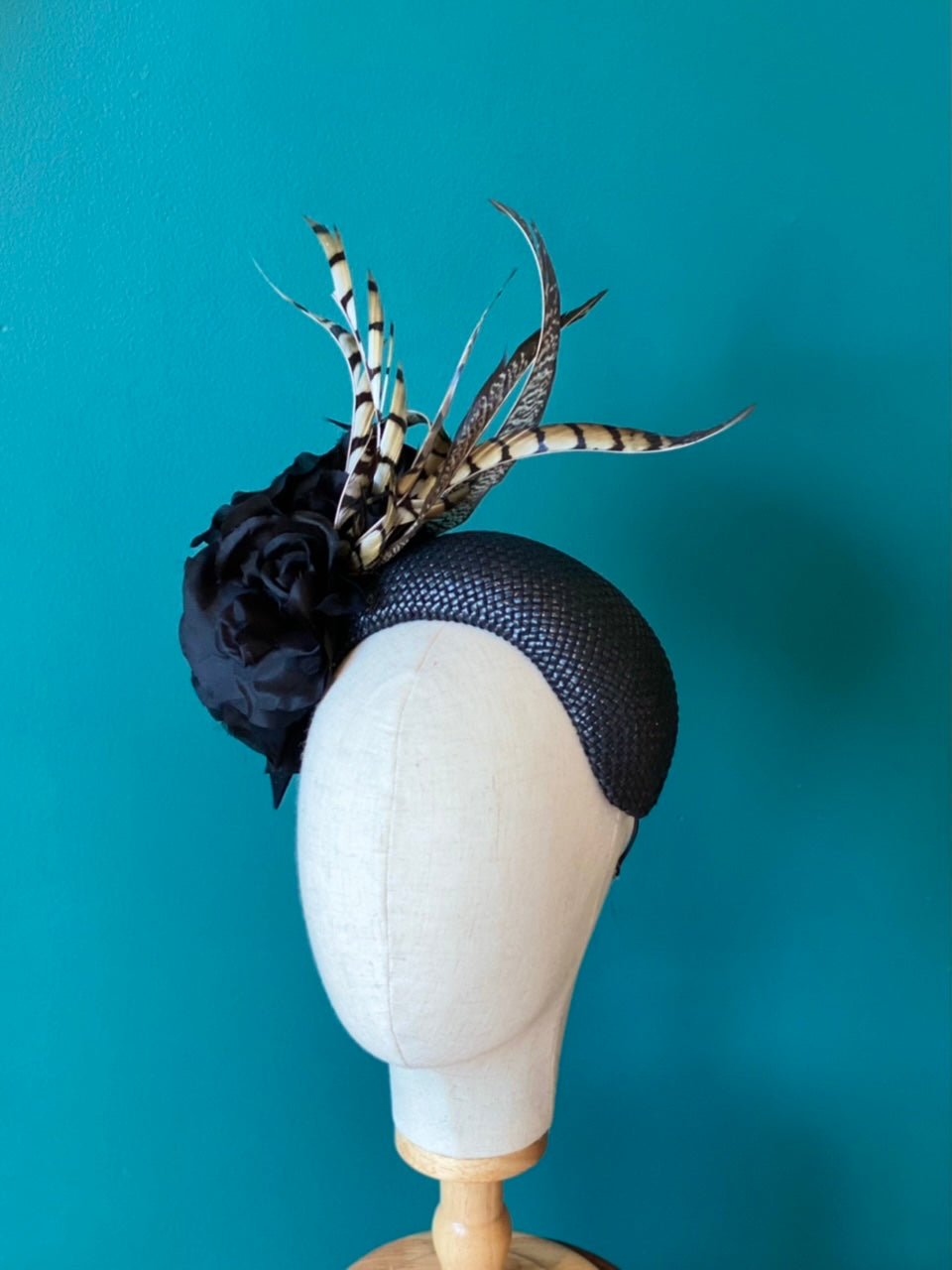 Floral and feather headpiece