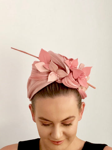 MIMI leather  floral turban