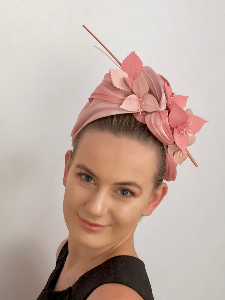 MIMI leather  floral turban -pinks