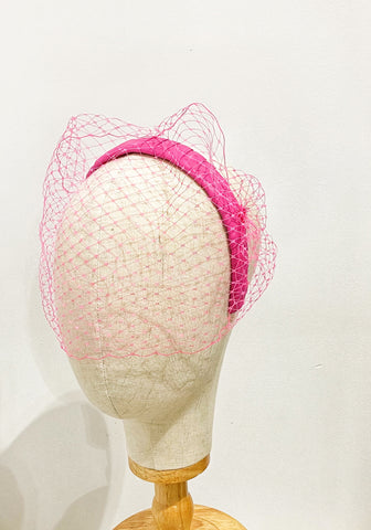 MARLA - pink veiled  leather headband