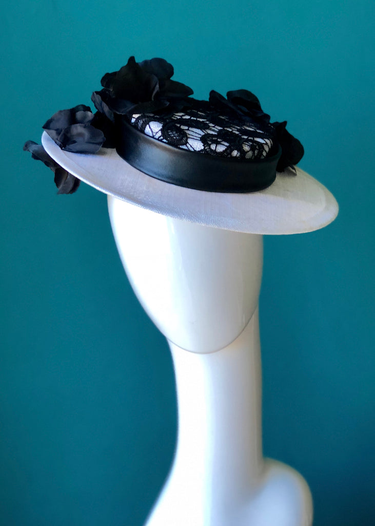 black  and white Lace  boater hat