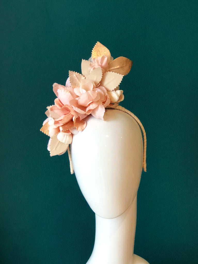 CANDICE  FLORAL RUFFLE HEADPIECE - blush