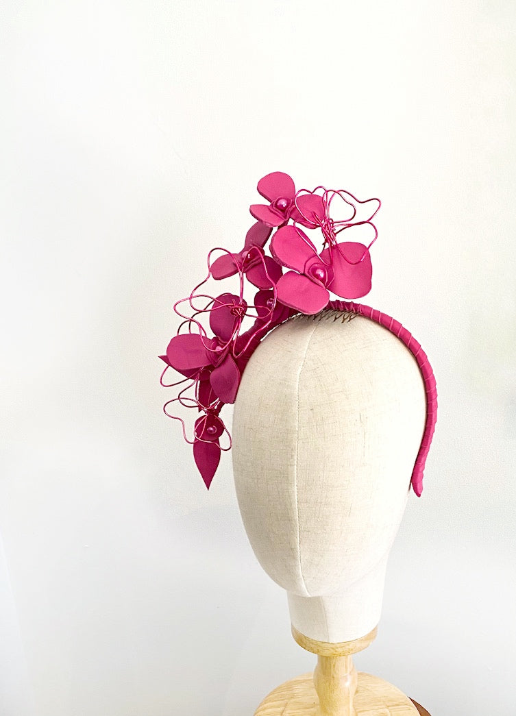 LOTTIE - Pink leather floral headpiece