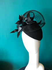 DARCY- Felt hat with sheer and leather detail