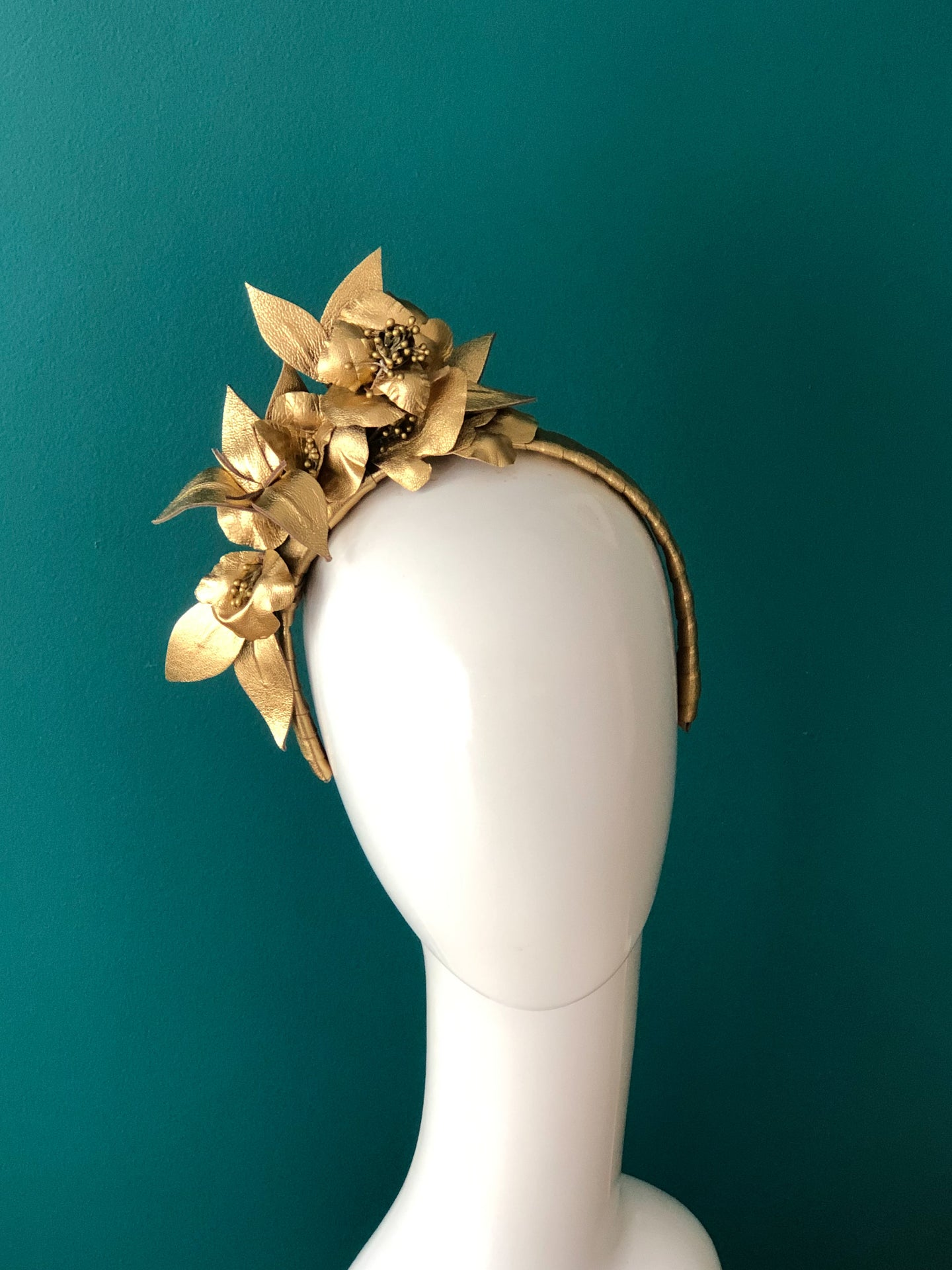 GOLD RUSH - Leather floral  headpiece