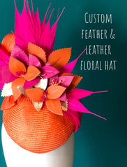 DEPOSIT FOR Custom leather floral feature  hat