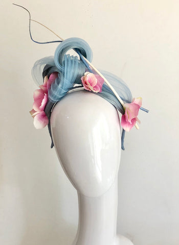 ROSALEE twist   headpiece -light blue and pink