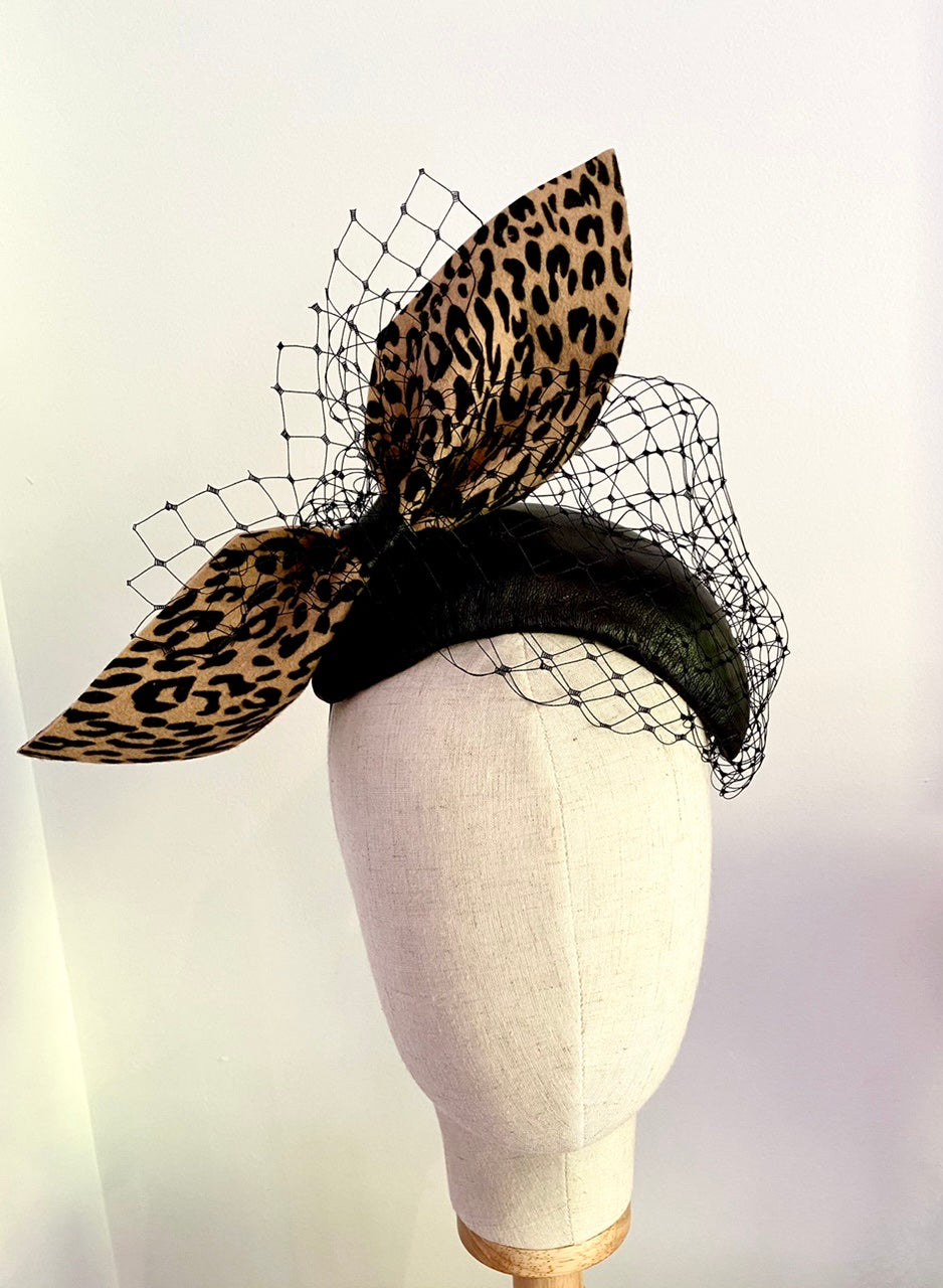 Leopard bow leather headpiece