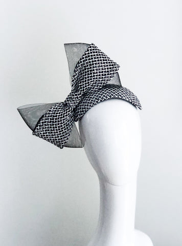 Black and white  Feature Bow bandeau headpiece