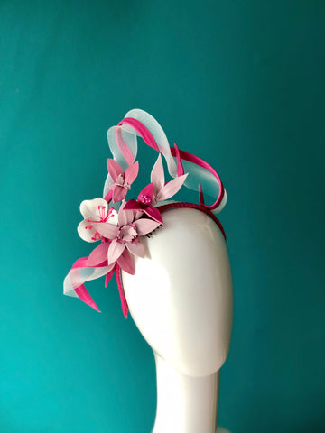 leather twists with floral detail headpiece - colours by request