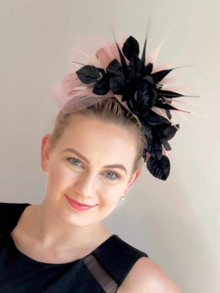 floral headpiece pink and black- SOLD OUT