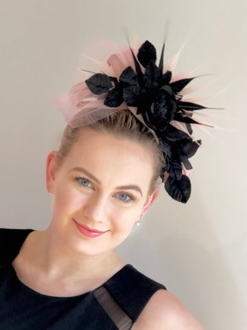 floral headpiece pink and black