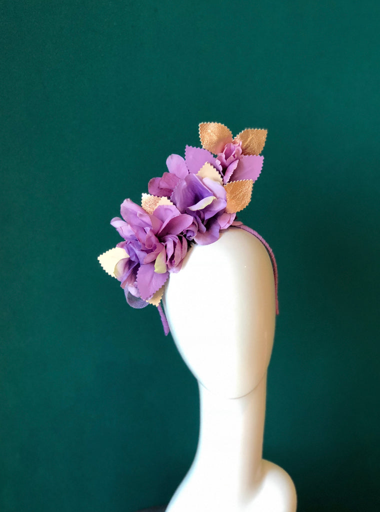 CANDICE  FLORAL RUFFLE HEADPIECE -purples