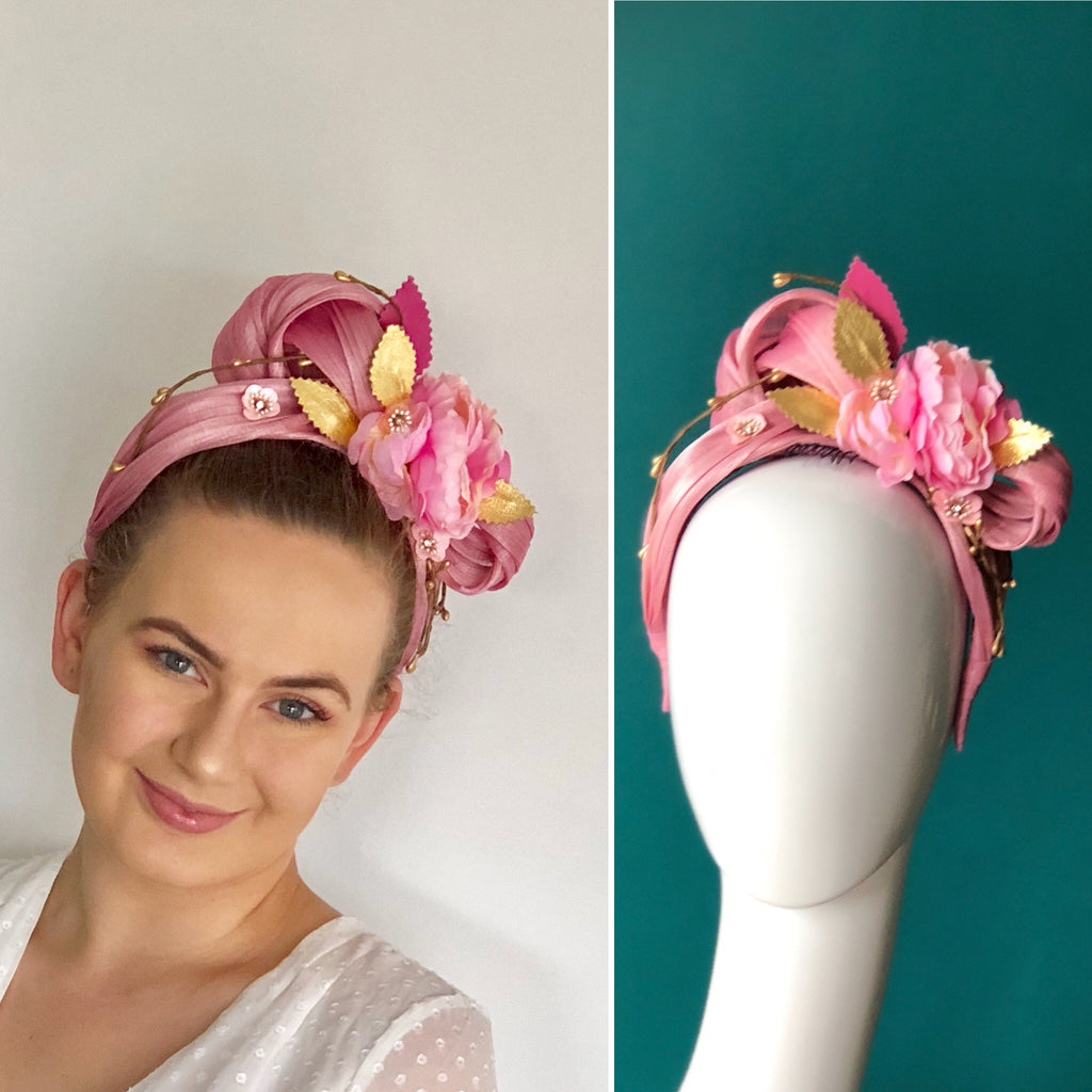 floral headpiece - pink and gold tones