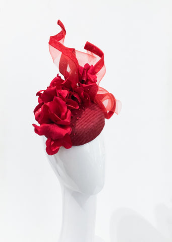 Red floral ruffle  Twist hat