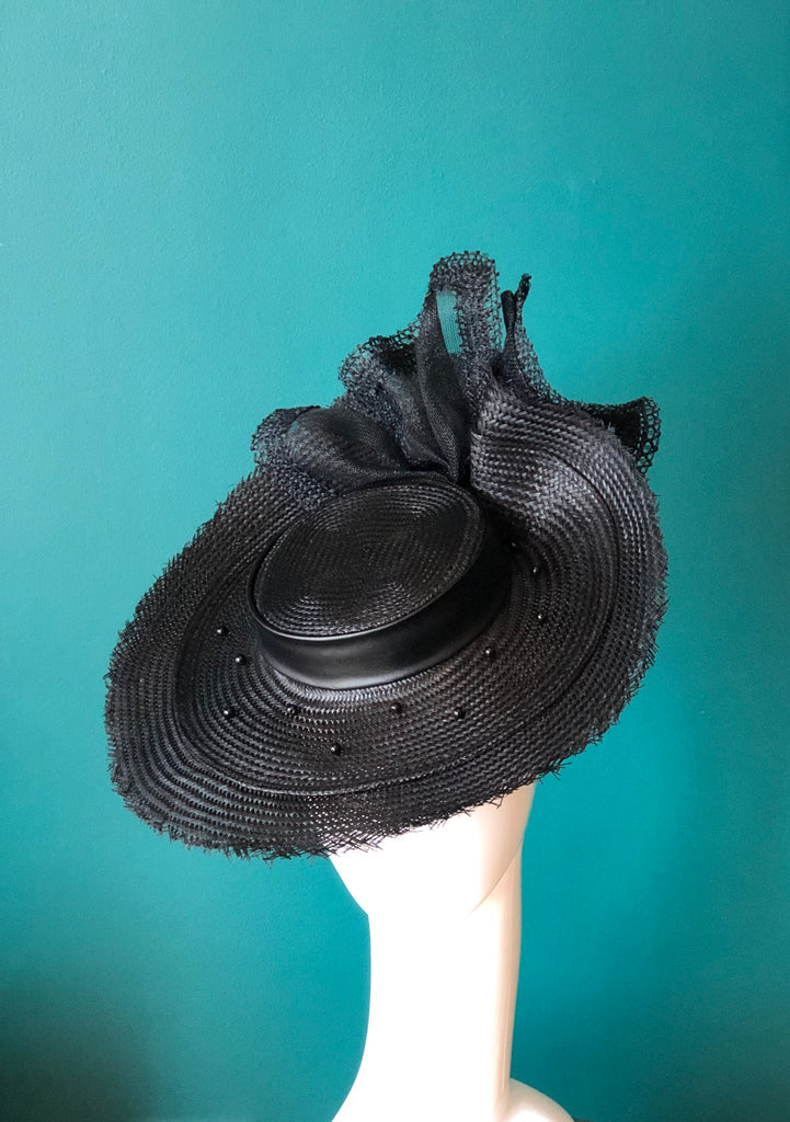 Black frey edge Boater  hat