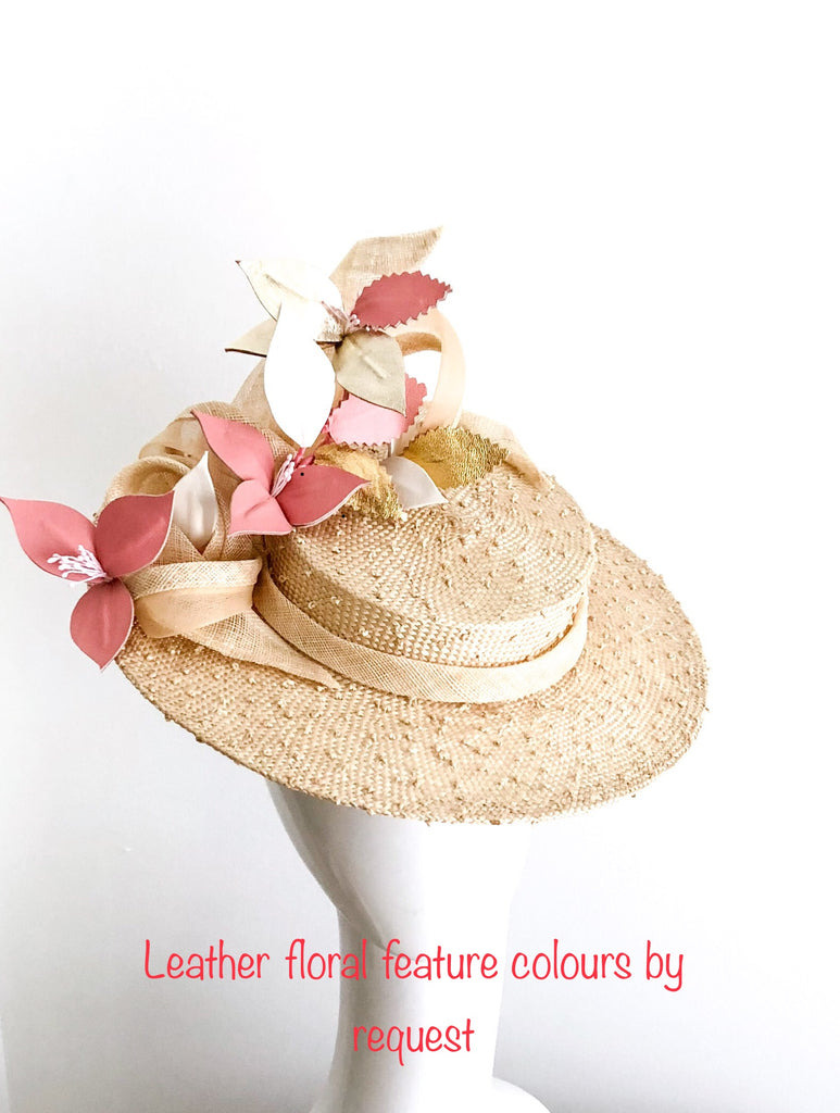 Boater hat with leather floral feature SOLD OUT