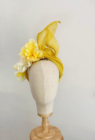 floral turban  tails -yellow