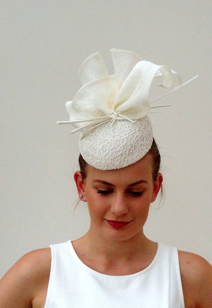 modern lace hat with quill and ruffle detail