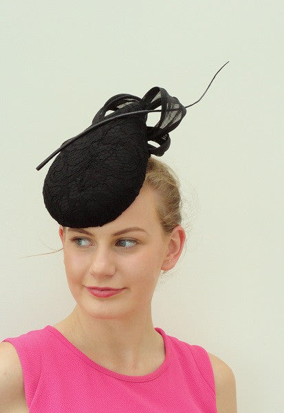 black lace hat by Sassy millinery