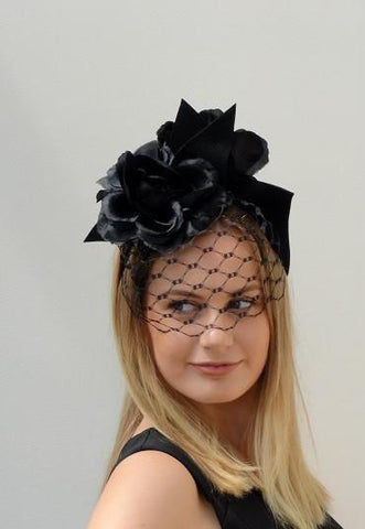 black floral veiled  headpiece