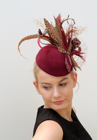 FLOCK -felt  hat with  feather detail
