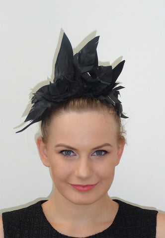 XANTHIE Black leather and felt  headpiece