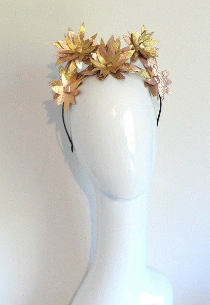 Gold an Rose gold leather star flower halo by sassy millinery